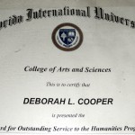 Deborah A. Daoud - Florida International Universities Award for Outstanding Service to the Humanities Program