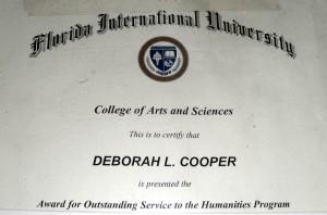 Deborah A. Daoud - Florida International Universities Award for Outstanding Service to the Humanities Program