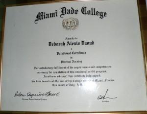 Deborah A. Daoud Miami Dade College Pratical Nursing Degree