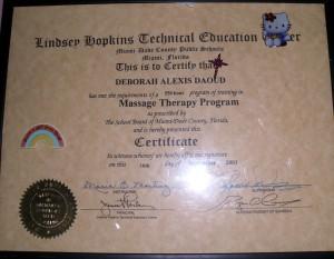 Deborah A. Daoud - Lindsey Hopkins Technical Education Center , Massage Therapy Certificate, Florida