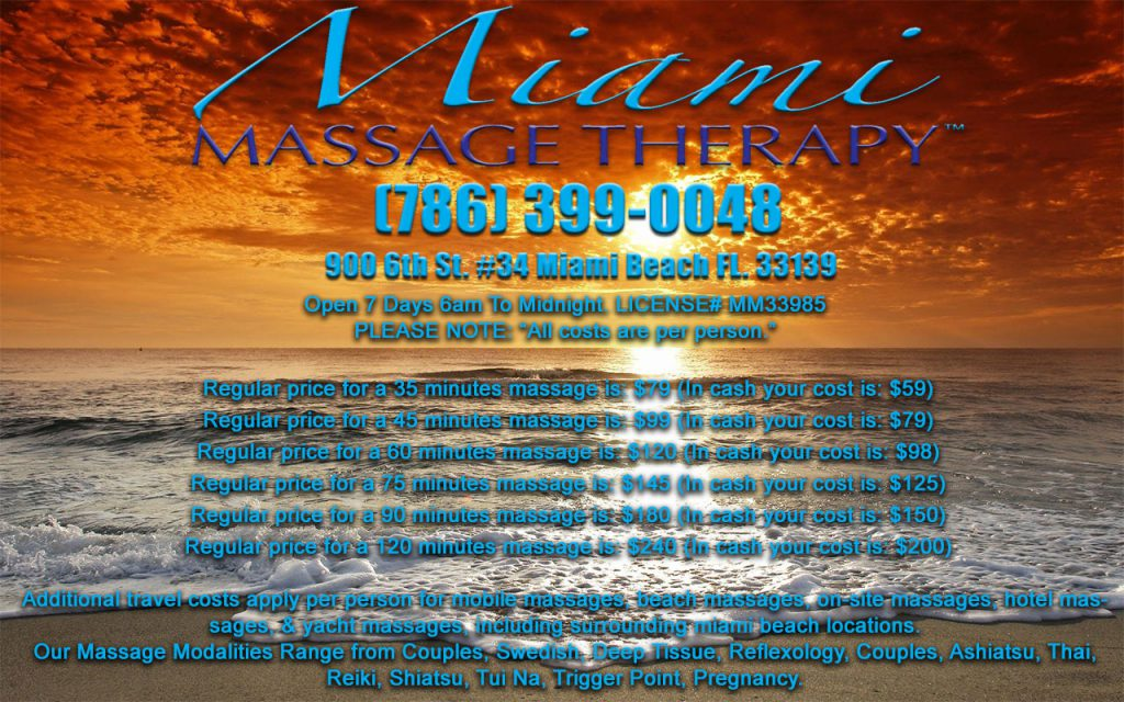 Miami Massage Therapy Prices Couples Massages Swedish Asian Thai Reflexology Reiki